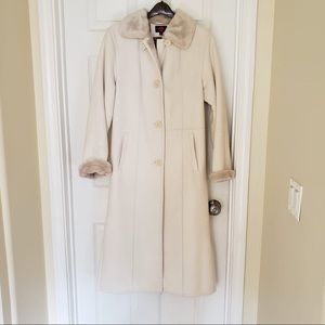 Gallery Long Cream Coat Size XS